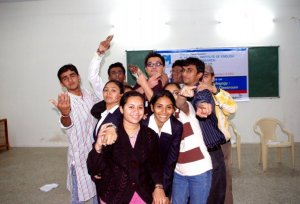 With students at Gujarat, India