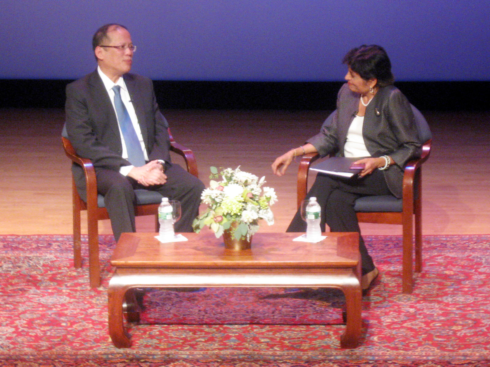 President Benigno Aquino III and Asia Society President Vishakha Desai in conversation on September 20, 2011 | Photo by RandyGener