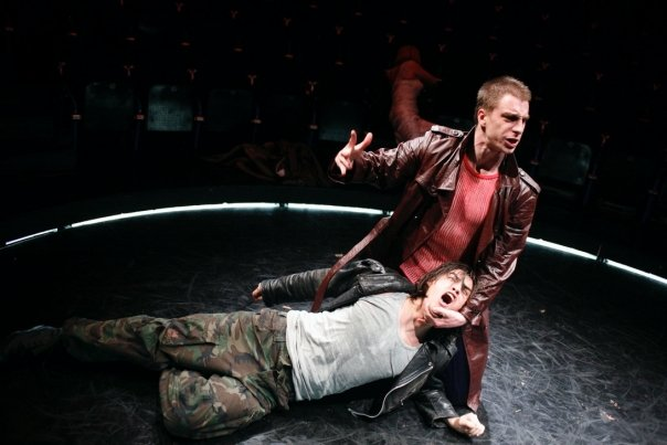 "Stipe Kostanic and Jure Henigman in Heiner Muller's ""Macbeth After Shakespeare"" 