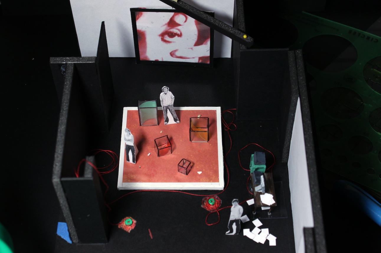 "Kyoung Park's ""Tala,"" Act I, Top. Preliminary Set Design, Mabou Mines Workshop, April 2012. Set Designer: Marie Yokoyama"