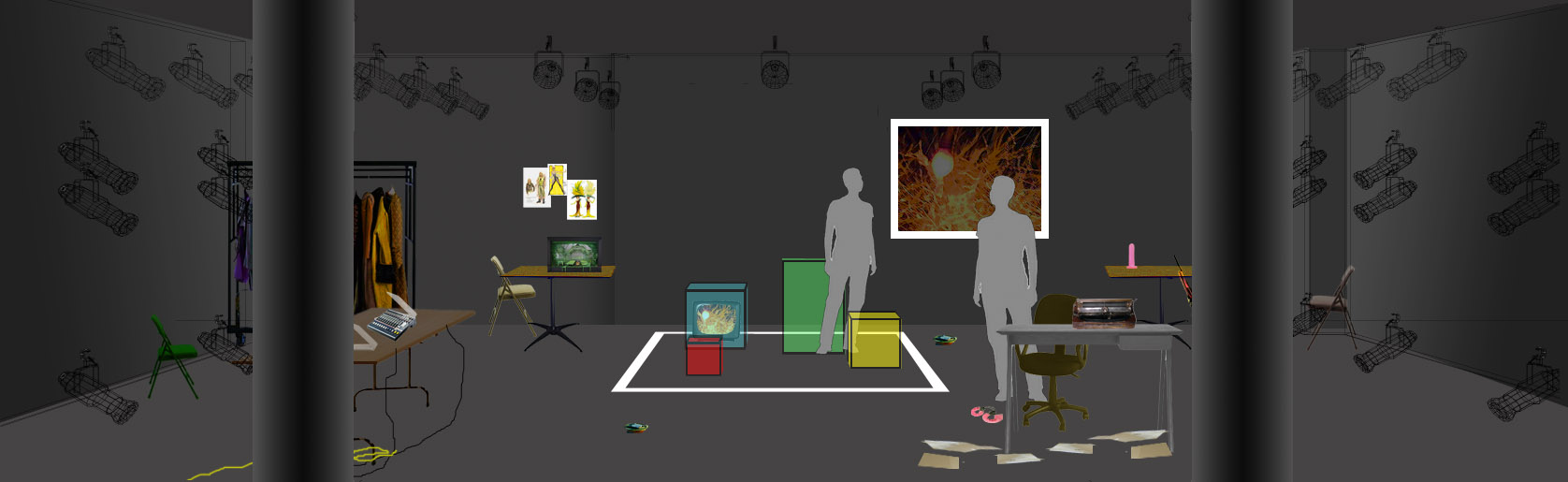 """Rendering of set design for Kyoung H. Park""""Tala"""" at HERE Arts Center, July 2012. Set Designer: Marie Yokoyama 