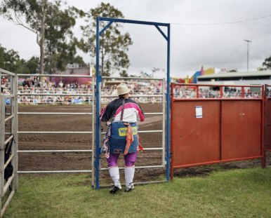 "Wim Wenders's ""Cowboy Clown, Brisbane"" (2006) C-print 132 x 148 cm 