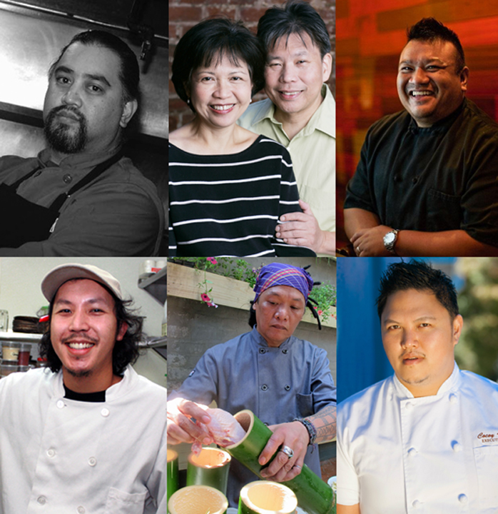 CULINARY DREAMS: clockwise, from top left: Chefs Dominic Ainza, Amy Besa and Romy Dorotan, King Phojanakong, Tim Luym, Perry Mamaril and Cocoy Ventura