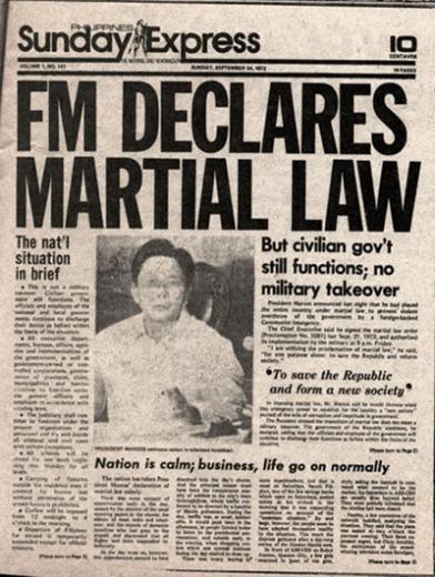 "Sunday Express newspaper headline ""FM Declares Martial Law"""