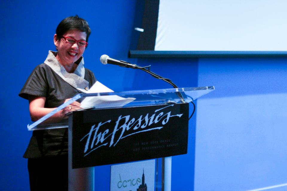 Muna Tseng announcing nominations at the Bessie Press Conference | Photo by AK47 Division