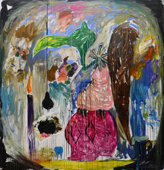 """Landscape painting from Manuel Ocampo""""s """"The View Through the Bull of a Manual Laborer of Menagerie Gussied Over White Ground: 20 Years of Self-Loathing and Intestinal Mishaps"""""""