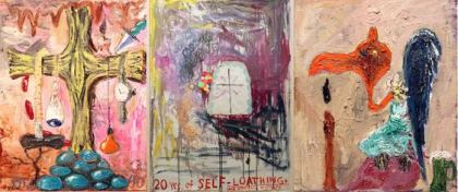 "Triptych paintings from Manuel Ocampo""s ""The View Through the Bull of a Manual Laborer of Menagerie Gussied Over White Ground: 20 Years of Self-Loathing and Intestinal Mishaps"""