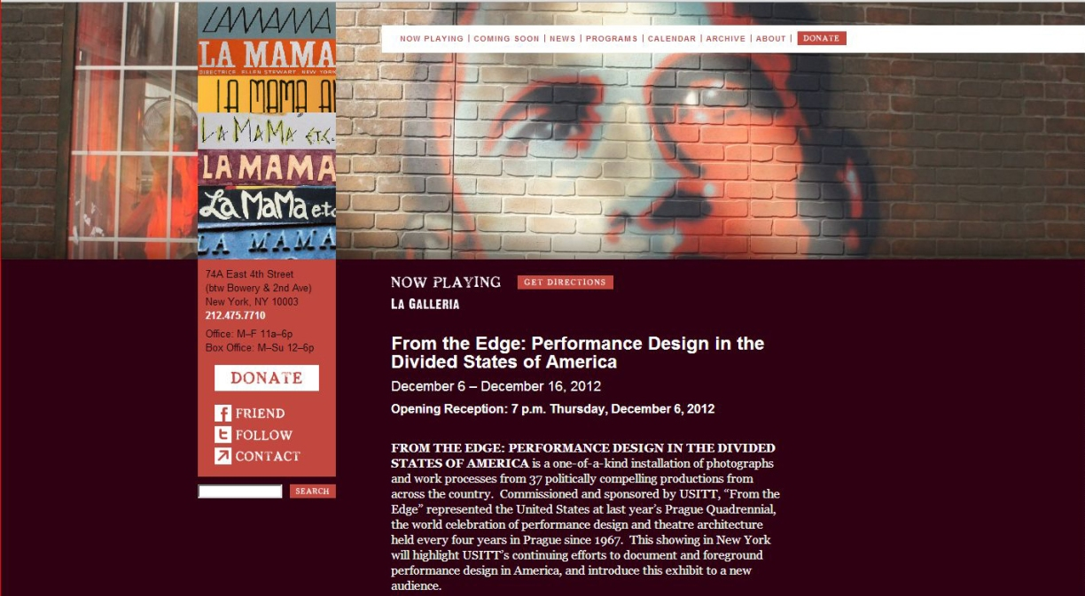 "LaMaMa LaGalleria website for ""From the Edge: Performance Design in the Divided States of America"""