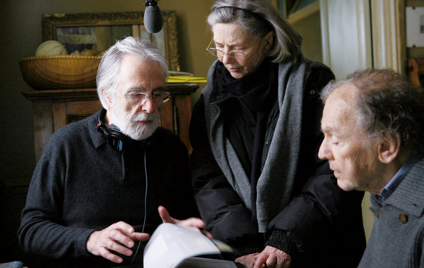 """Austrian director Michael Haneke, left, directs Emmanuelle Riva and Jean-Louis Trintignant on the set of """"Amour"""" 