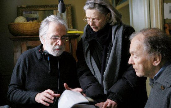 "Austrian director Michael Haneke, left, directs Emmanuelle Riva and Jean-Louis Trintignant on the set of ""Amour"" 