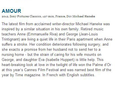 """Sony Pictures labels """"Amour"""" as coming from France, not Austria, on the Golden Globes website"""