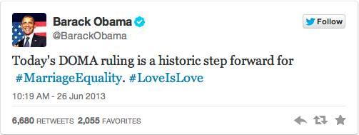 President Barack Obama tweets on Supreme Court ruling