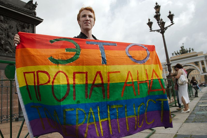 Lone LGBT protester on Saint Petersburg square