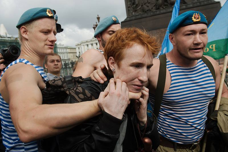 Russian airborne paratroopers bully gay protester