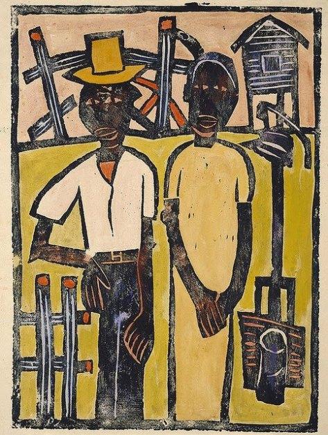 William H. Johnson (American artist, 1901-1970) Farm Couple at Well 1939-40 Print