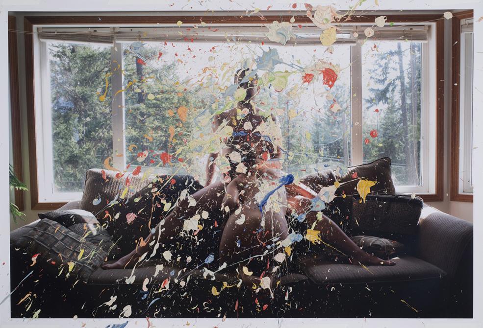 """Sarah Anne Johnson's """"Splatter Paint"""" (2013) chromogenic print with oil paint  30 x 44"""