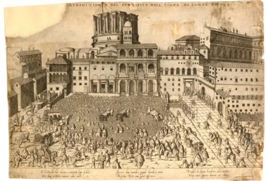 Antoine Lafréry/Bartolomeo. Faleti Disegno della Beneditione del Pontifice nella Piazza de Santo Pietro, Speculum Romanae magnificentiae