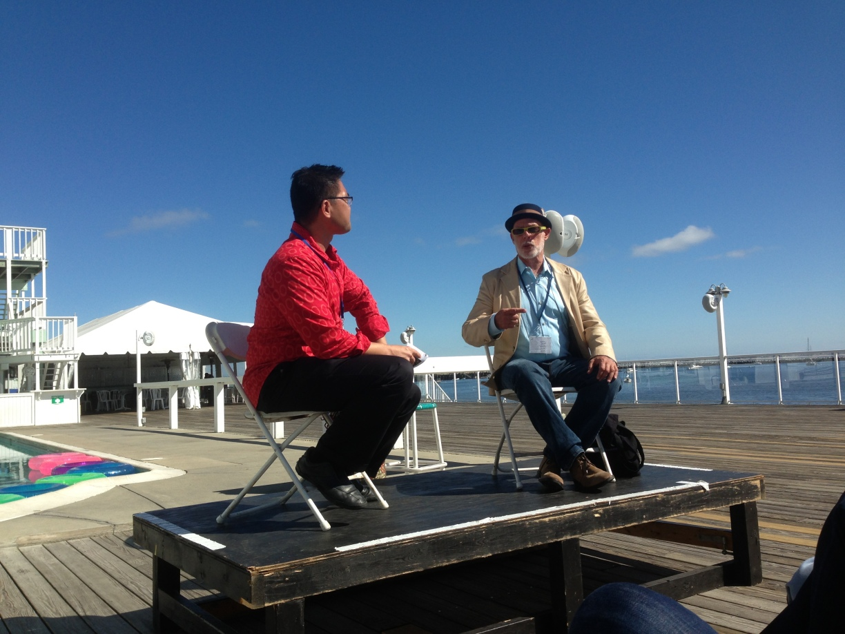 "Provincetown Tennessee Williams Theater Festival: Me and David Kaplan on the pool deck of the Boatslip discussing Jane Bowles's ""In the Summer House"""