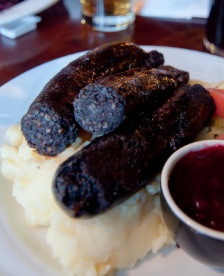 Mustamakkara (literally black sausage) is a type of Finnish blood sausage traditionally eaten with lingonberry jam.