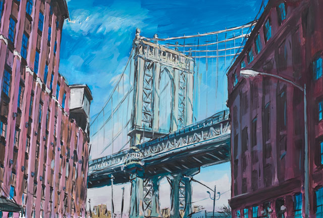 "Bob Dylan's ""Manhattan Bridge,"" Downtown New York, 2015–2016. Watercolour on paper, 89.2 x 121.3 cm. 