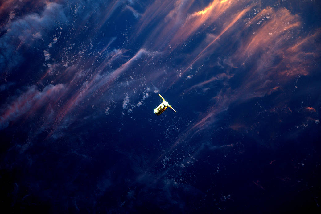 On Saturday April 22, 2017, Expedition 51 Flight Engineer Thomas Pesquet of the European Space Agency photographed Orbital ATK's Cygnus spacecraft as it approached the International Space Station.